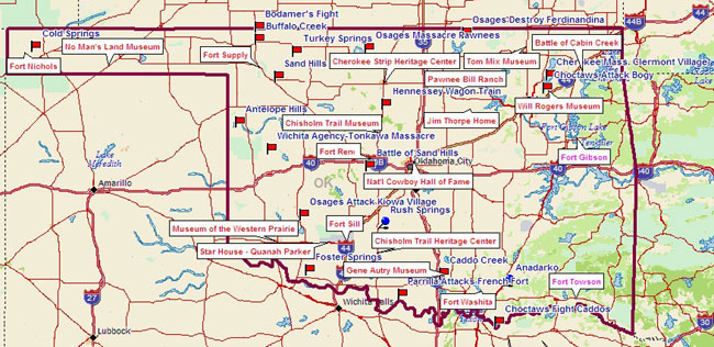 Forts in Oklahoma Map