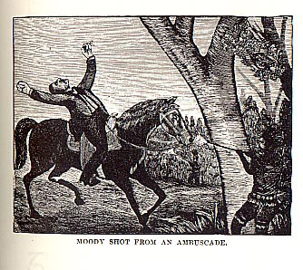 Moody Shot from an Ambuscade picture from the book Indian Depredations in Texas by J. W. Wilbarger