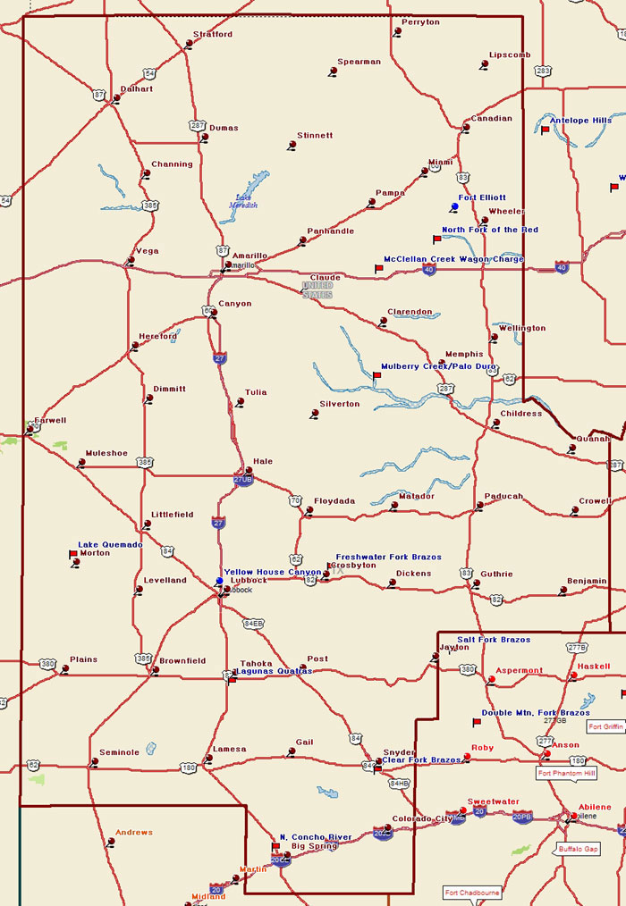 Map of the Texas Plains Trail Region
