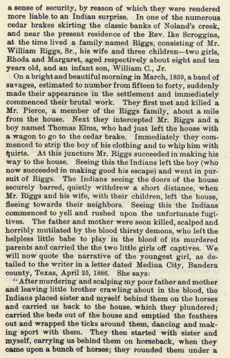 The Riggs Massacre story from the book Indian Depredations in Texas by J. W. Wilbarger
