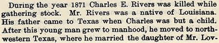 Charles Rivers story by Wilbarger