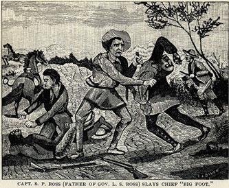 "Captain Ross Slays Chief ""Big Foot"" picture from the book Indian Depredations in Texas by J. W. Wilbarger"