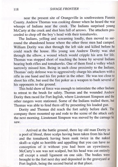 Story of McCarty and Dority Being Killed Near the Bois d' Arc