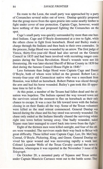 Story of Captain Cage's Fight on Leon Creek, October 20, 1838