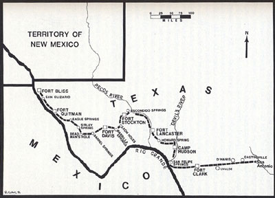 Map of the Sibley Brigade from San Antonio to Fort Bliss