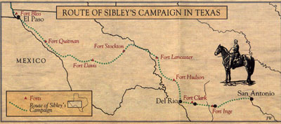 Map of Route of Sibley's Campaign in Texas