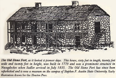 Picture of Drawing of Old Stone Fort in Nacogdoches