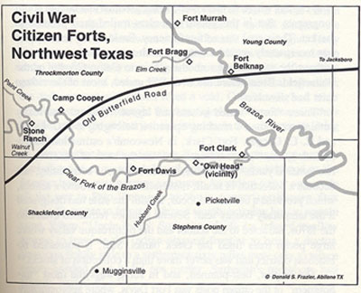 Civil War Citizen Forts, Northwest Texas Map
