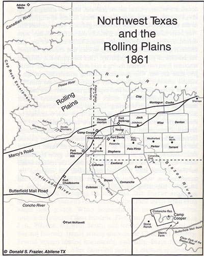 Northwest Texas and the Rolling Plains 1861 Map