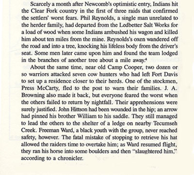 Freeman Ward Murdered Story by Ty Cashion from the Book, A Texas Frontier
