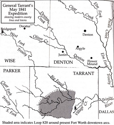 General Tarrant's May 1841 Expedition (Village Creek) Map