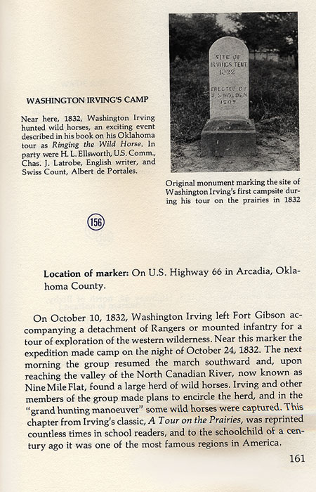 Washington Irving's First Campsite Monument Picture