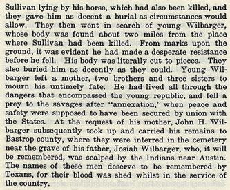 John L. Wilbarger story from the book Indian Depredations in Texas by J. W. Wilbarger